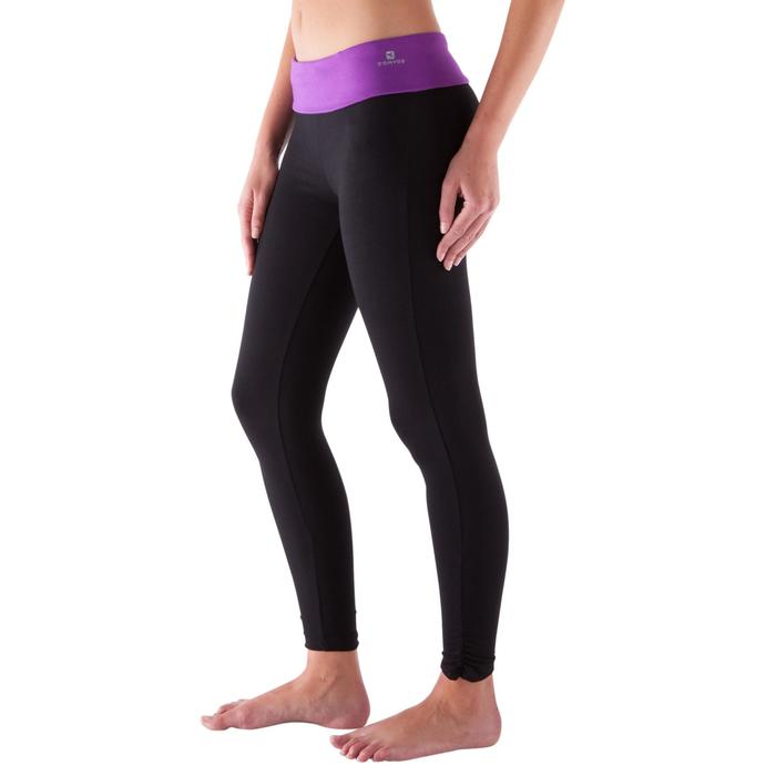 Legging yoga femme coton issu de l'agriculture biologique noir / gris chiné - 419159