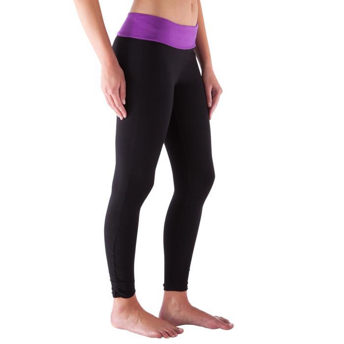 Legging yoga femme coton issu de l'agriculture biologique noir / gris chiné - 419160