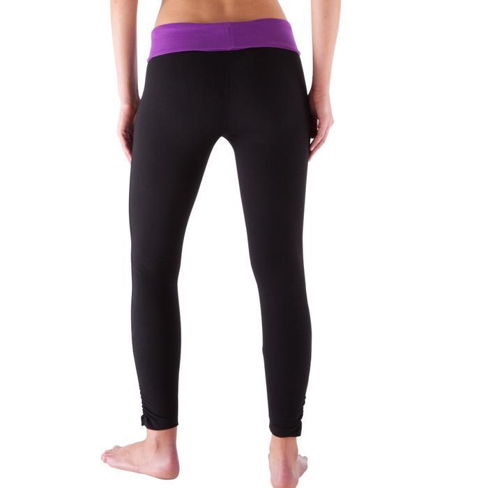 Legging yoga femme coton issu de l'agriculture biologique noir / gris chiné - 419162