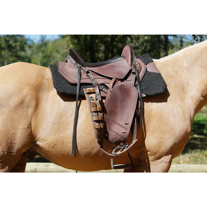 Selle équitation randonnée cheval ESCAPE marron - 420167