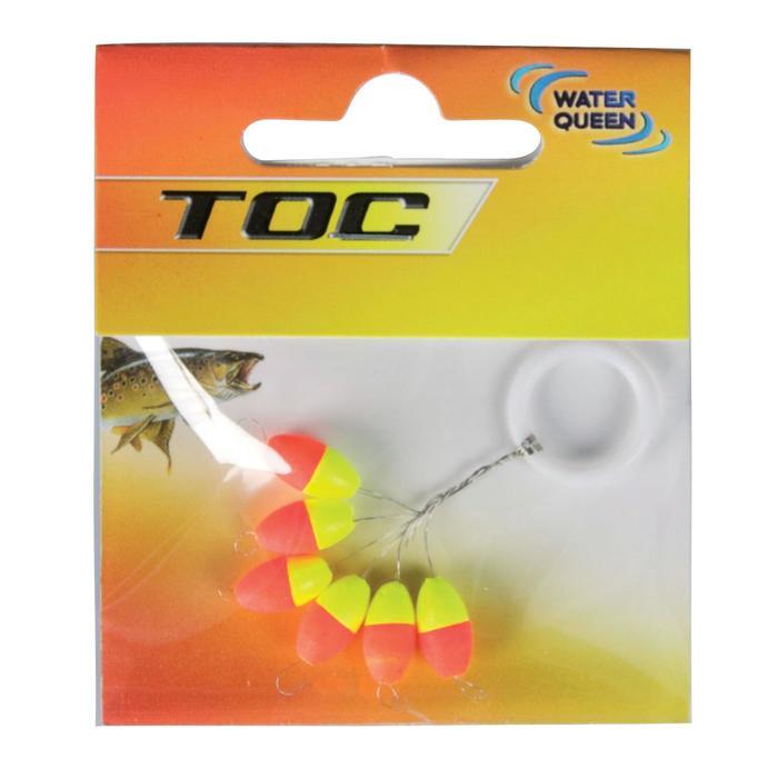 Dobber voor au toc forelvissen ovale lijngeleider 6x12 geel/oranje x6