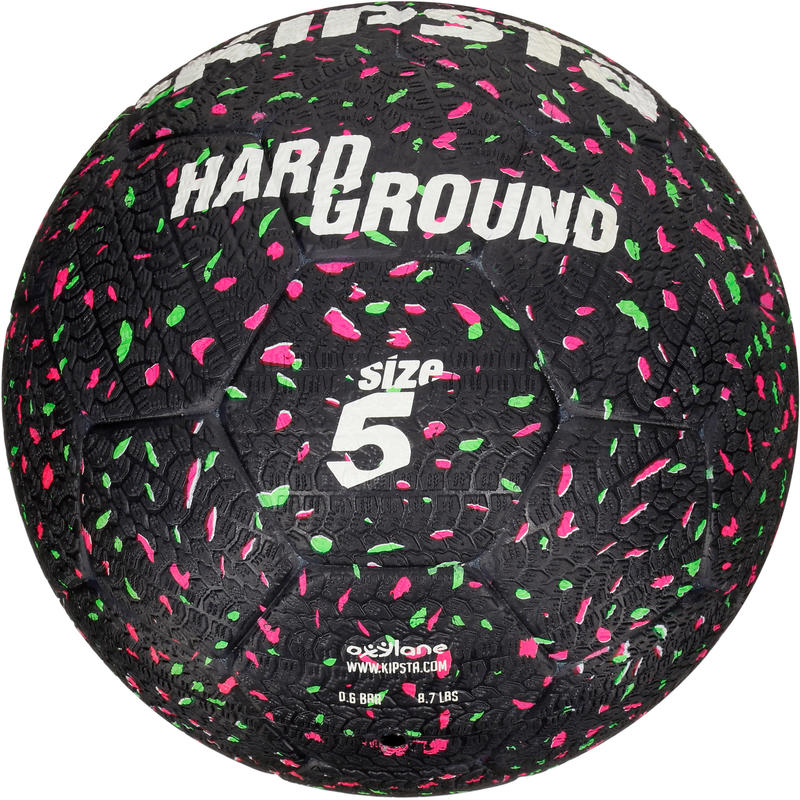 Balón de fútbol Hardground talla 5 negro verde rosado