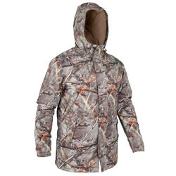 VESTE CHASSE POSIKAM 100 IMPERMÉABLE CAMOUFLAGE MARRON