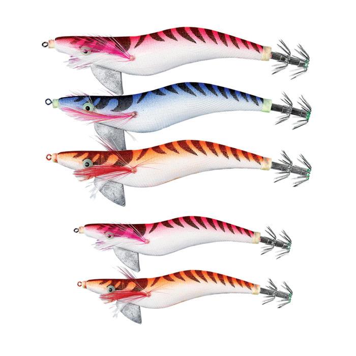 Set verzwaarde inktvisplugs EGI x 5 voor vissen op zeekat/pijlinktvis