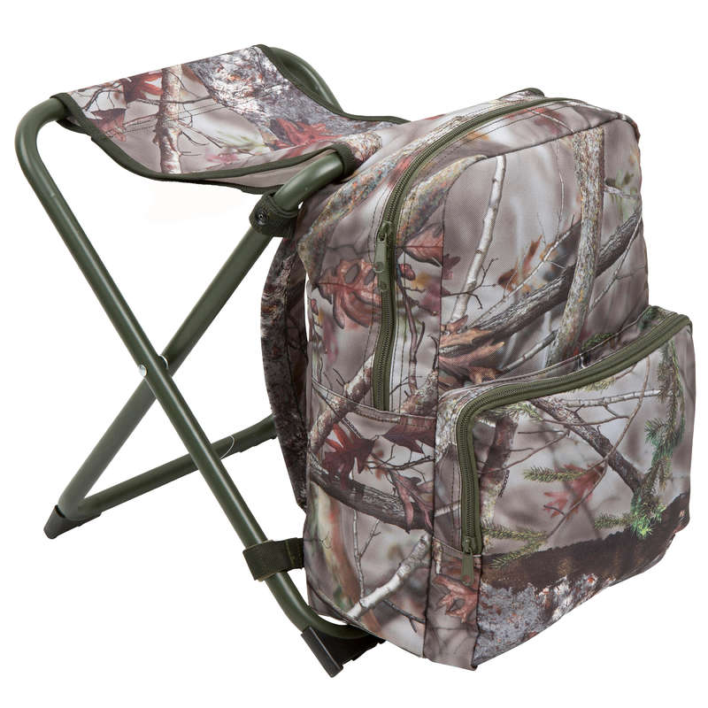 STOOLS/SEATS Shooting and Hunting - BACKPACK CHAIR CAMO SOLOGNAC - Hunting and Shooting Accessories