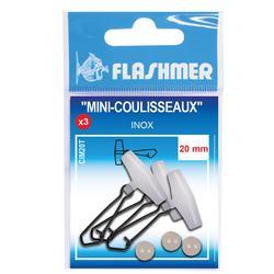 Mini-Schieber Angeln, rostfrei 20 mm, 3 Stück, Meeresangeln