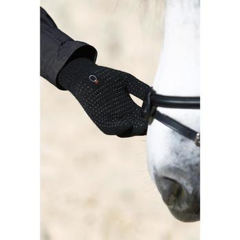 Gants équitation adulte TRICOT noir - 424022