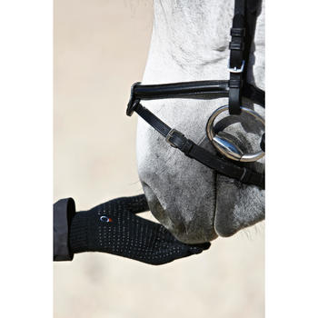 Gants équitation adulte TRICOT noir - 424026
