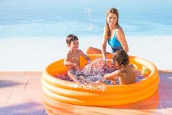 Rond oranje opblaasbaar zwembadje met 3 banden van 152 cm diameter en 30 cm hoog - 424042