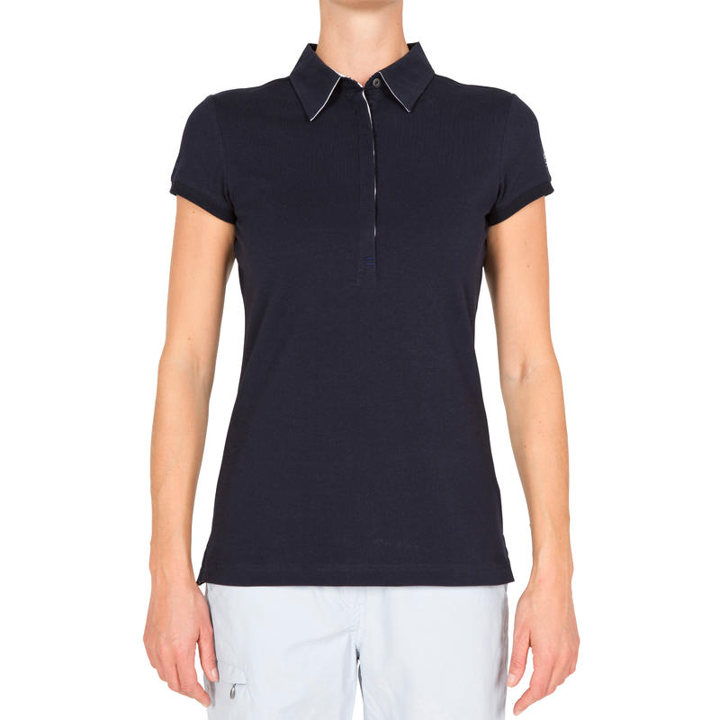 100 Women's Sailing Polo Shirt - Dark Blue