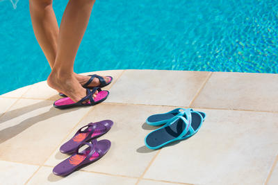 Women's Pool Sandals Slap 500 - White Blue