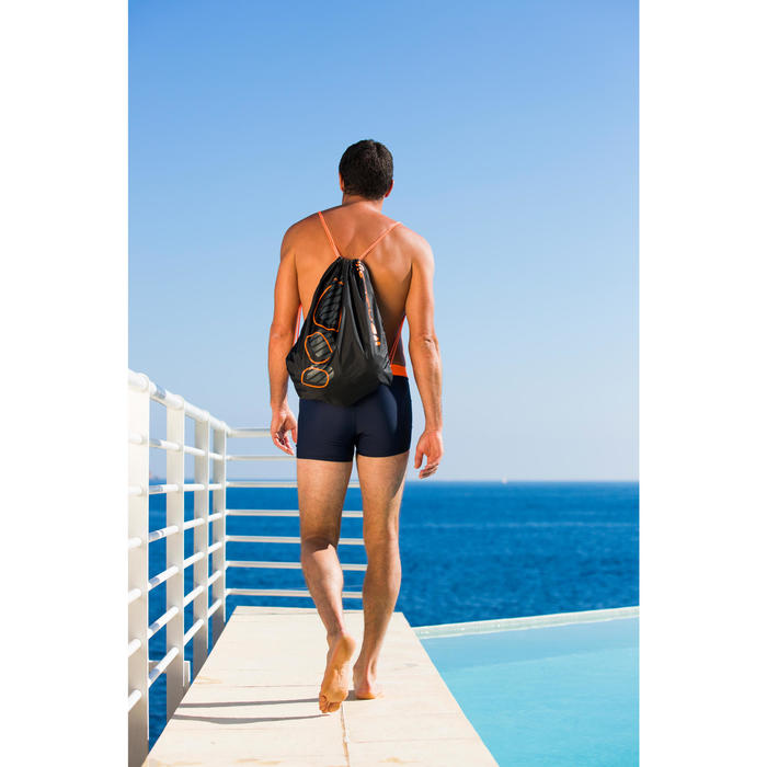 Drawstring Swim Bag - Logo Black Orange