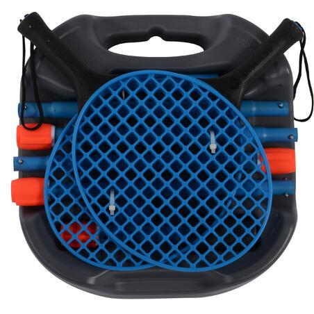 Spīdbola, turnbola komplekts (1 stute, 2 raketes un 1 bumba), pelēks/zils