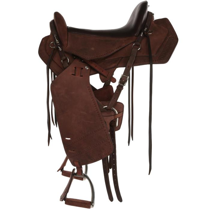 Selle équitation randonnée cheval ESCAPE marron - 428829