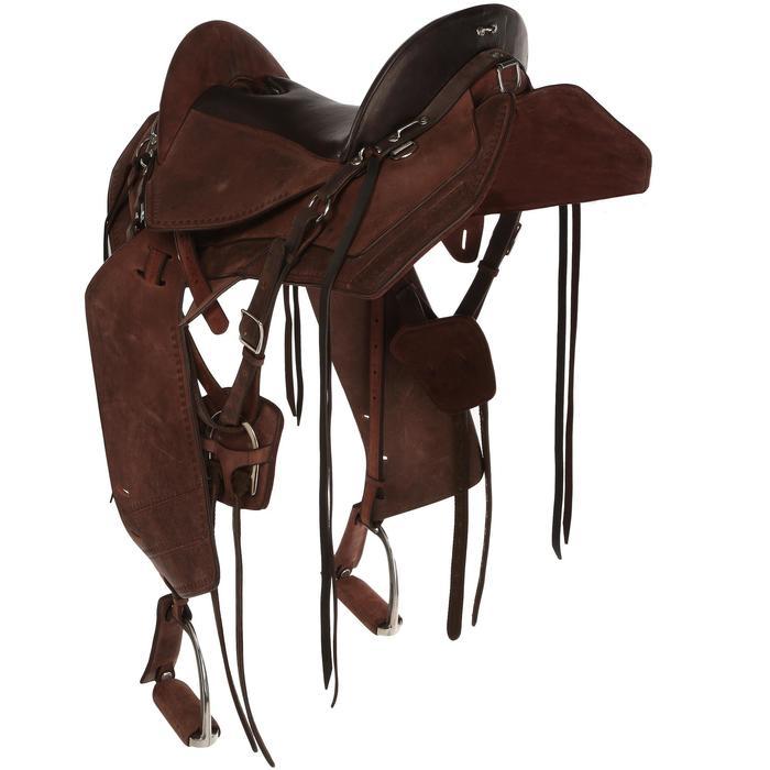 Selle équitation randonnée cheval ESCAPE marron - 428830