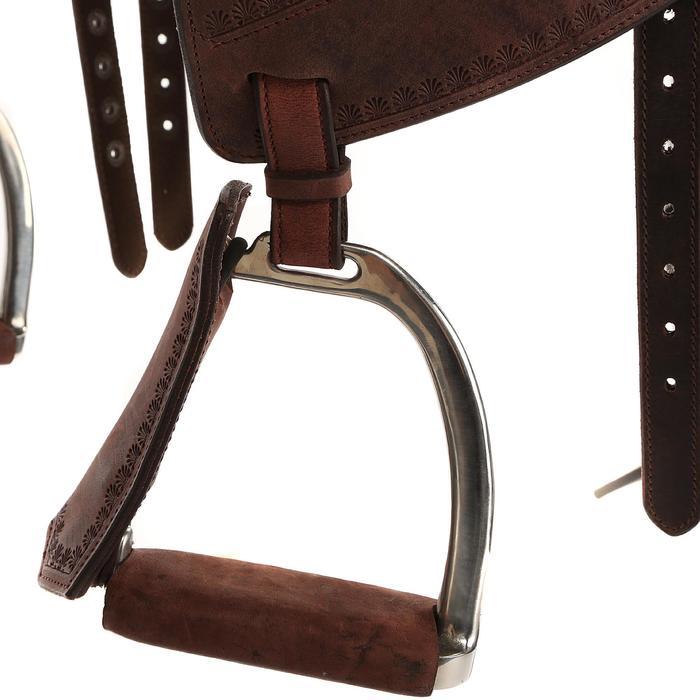 Selle équitation randonnée cheval ESCAPE marron - 428832