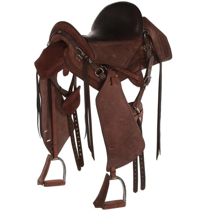 Selle équitation randonnée cheval ESCAPE marron - 428835