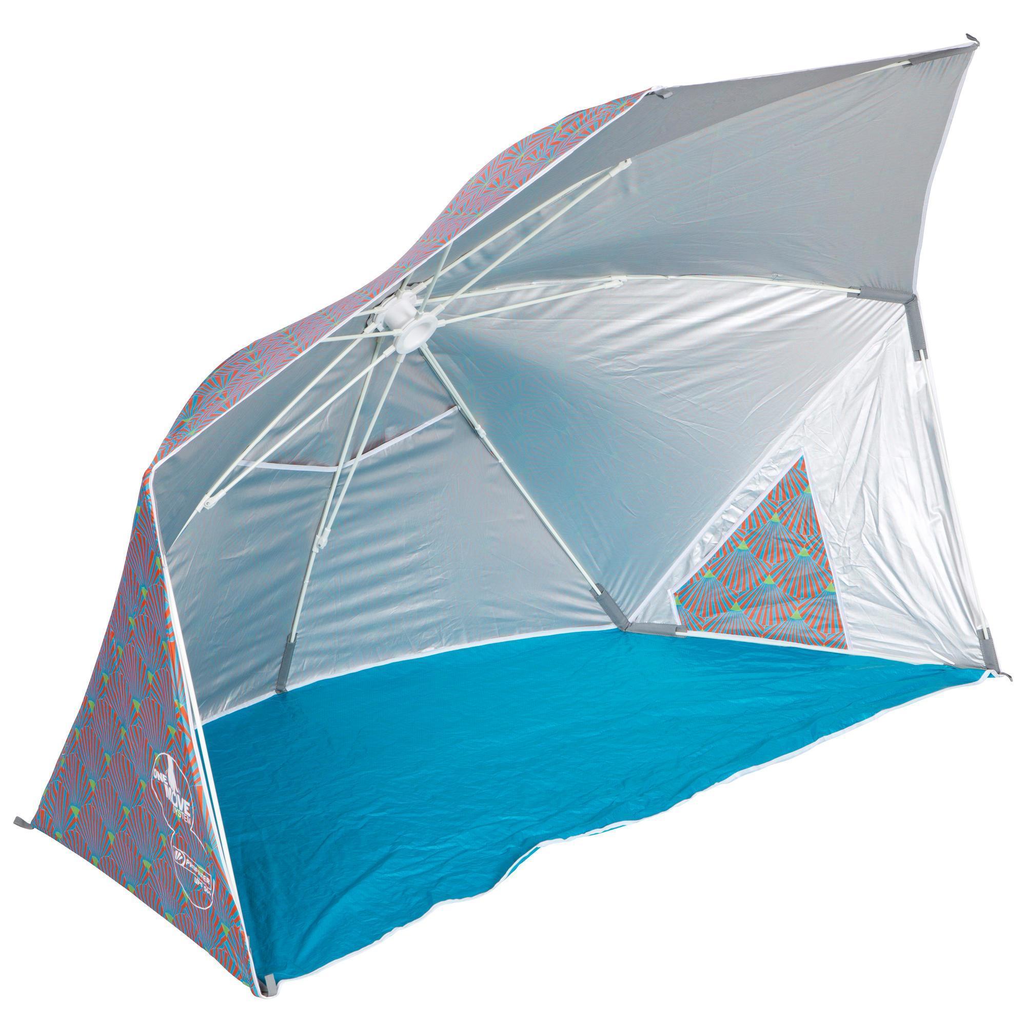 abri de plage iwiko 180 gris bleu olaian. Black Bedroom Furniture Sets. Home Design Ideas