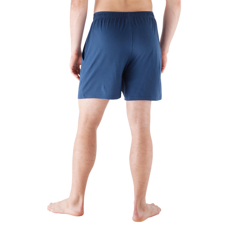 Short basic gym douce, yoga, pilates, homme, bleu