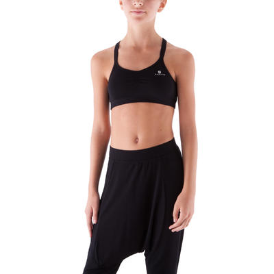 Girls' Modern Dance Crop Top With Crossover Straps - Black