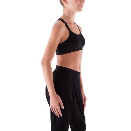 חזיית ספורט לריקוד לבנות עם רצועות דקות - שחור