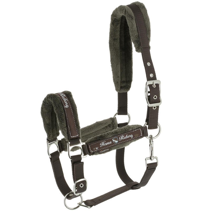 Winner Horse Riding Halter + Leadrope Set for Horse or Pony - Brown