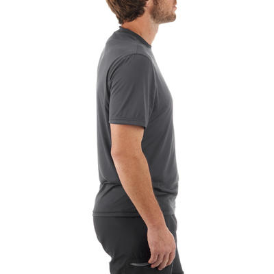 MH100 Men's Short Sleeve Mountain Hiking T-shirt - Dark Grey