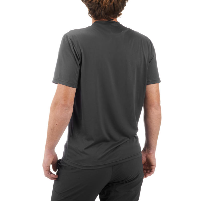 Men's Mountain Walking Short-sleeved T-Shirt MH100 - Dark Grey