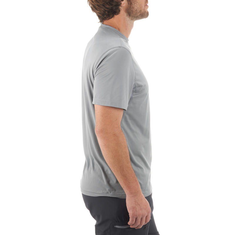 Camiseta de hiking en montaña MH100 de manga corta hombre gris