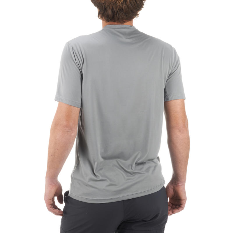 MH100 Men's Short-Sleeved Mountain Hiking T-Shirt - Grey