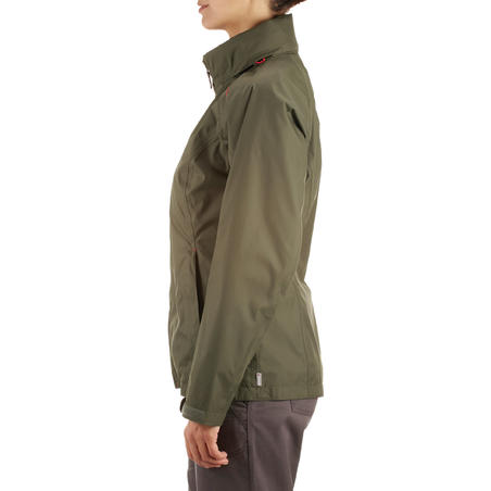 Arpenaz 100 women's rain hiking jacket - Green