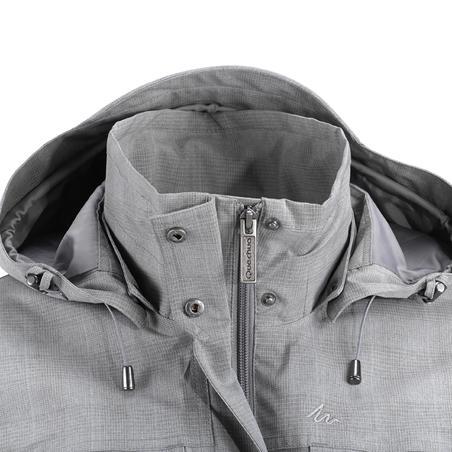 Arpenaz 500 women's waterproof walking rain jacket - grey