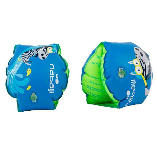 """Blauwe opblaasbare zwembandjes met print """"Zebro"""" 11-30 kg - 432974"""