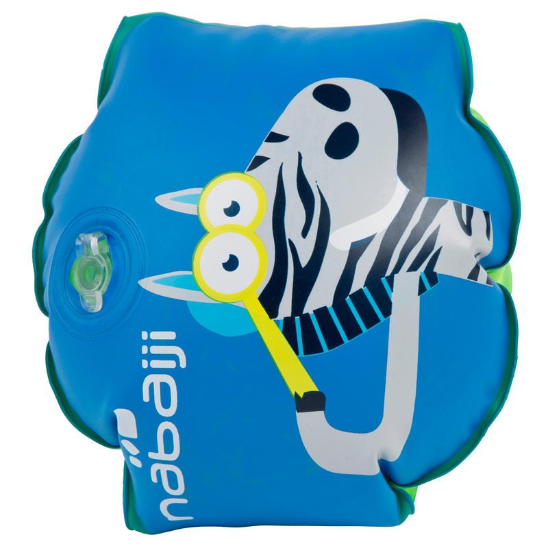 """Alitas de natación para niño azules con estampado """"CEBRA"""""""