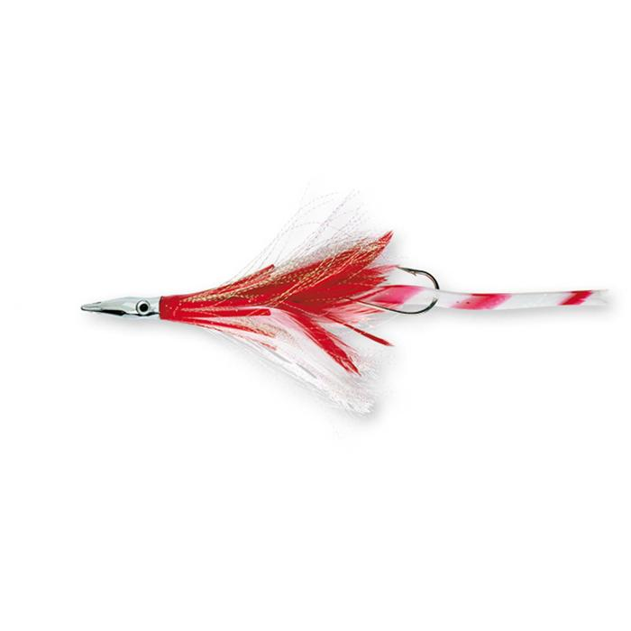 Señuelo Diamond jet feather rojo blanco pesca de arrastre
