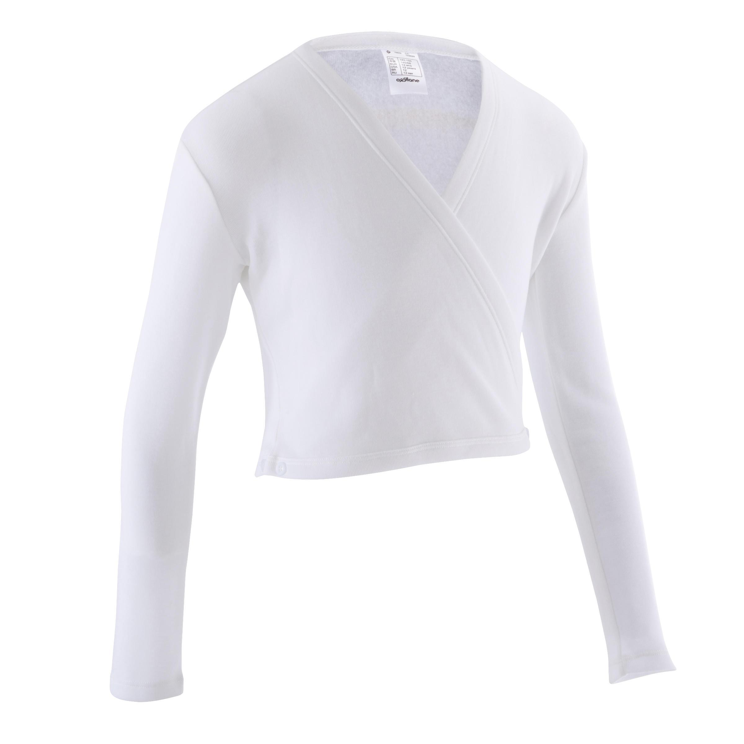 Suéter cruzado de danza clásica niña blanca.
