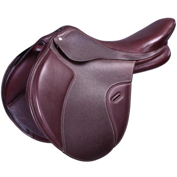 """Selle polyvalente en cuir à arçon réglable équitation cheval PADDOCK 17""""5 - 43670"""