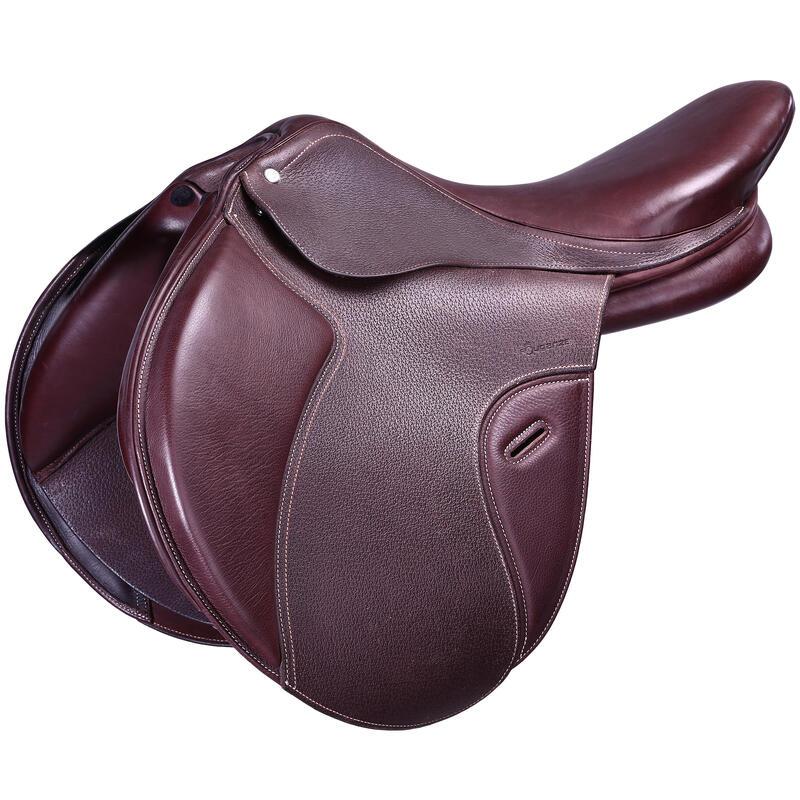 """Všestranné kožené sedlo s nastavitelnou komorou PADDOCK pro koně 17,5"""" hnědé"""