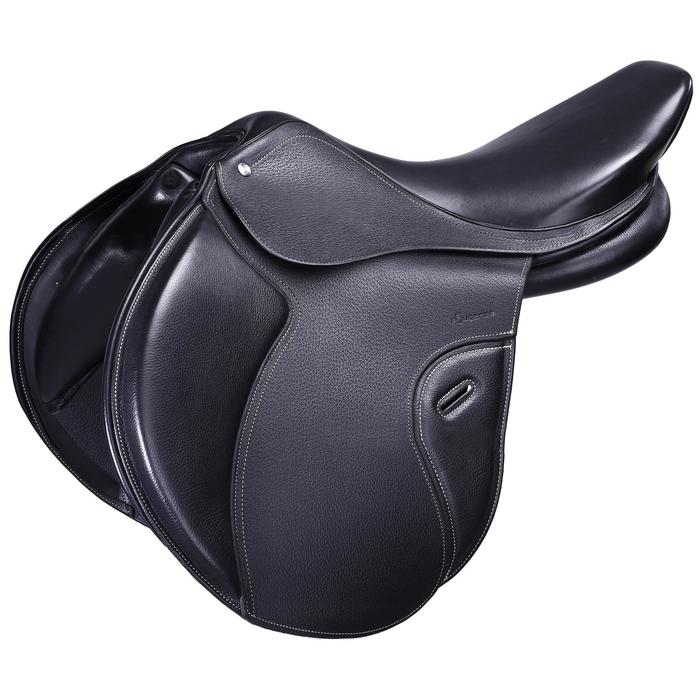 """Selle polyvalente en cuir à arçon réglable équitation cheval PADDOCK noir 17""""5"""