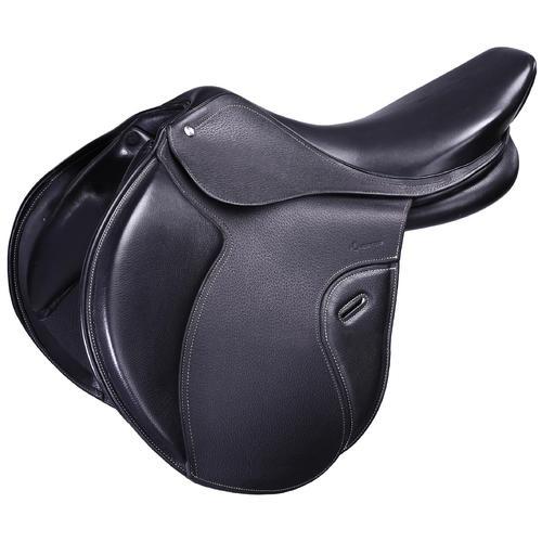Selle polyvalente en cuir à arçon réglable équitation cheval PADDOCK noir 17''5