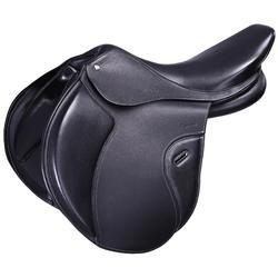 """Selle polyvalente en cuir à arçon réglable équitation cheval PADDOCK 17""""5"""