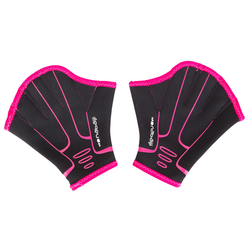 Webbed Aquafitness Gloves - Black Pink