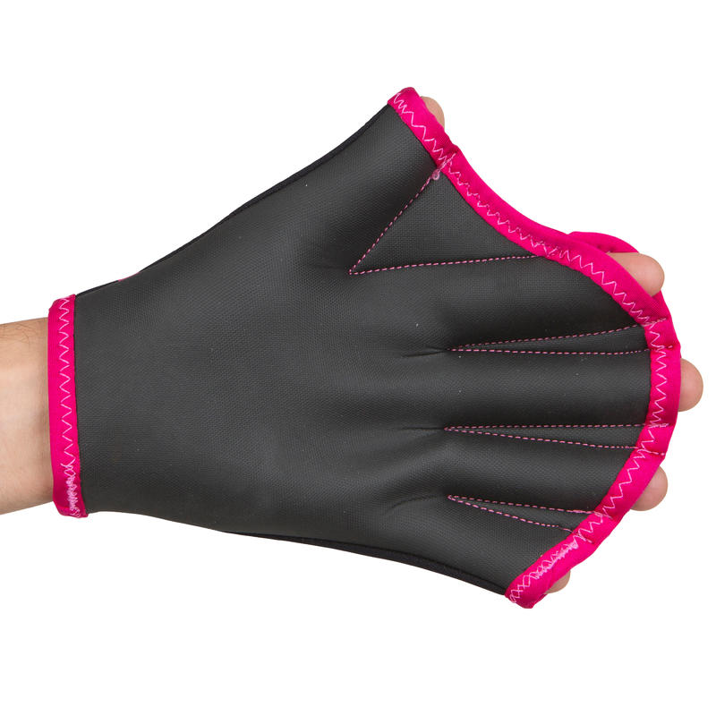 Webbed Aquafitness Gloves - Black Pink