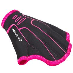 Aquagymhandschoenen zwart/roze