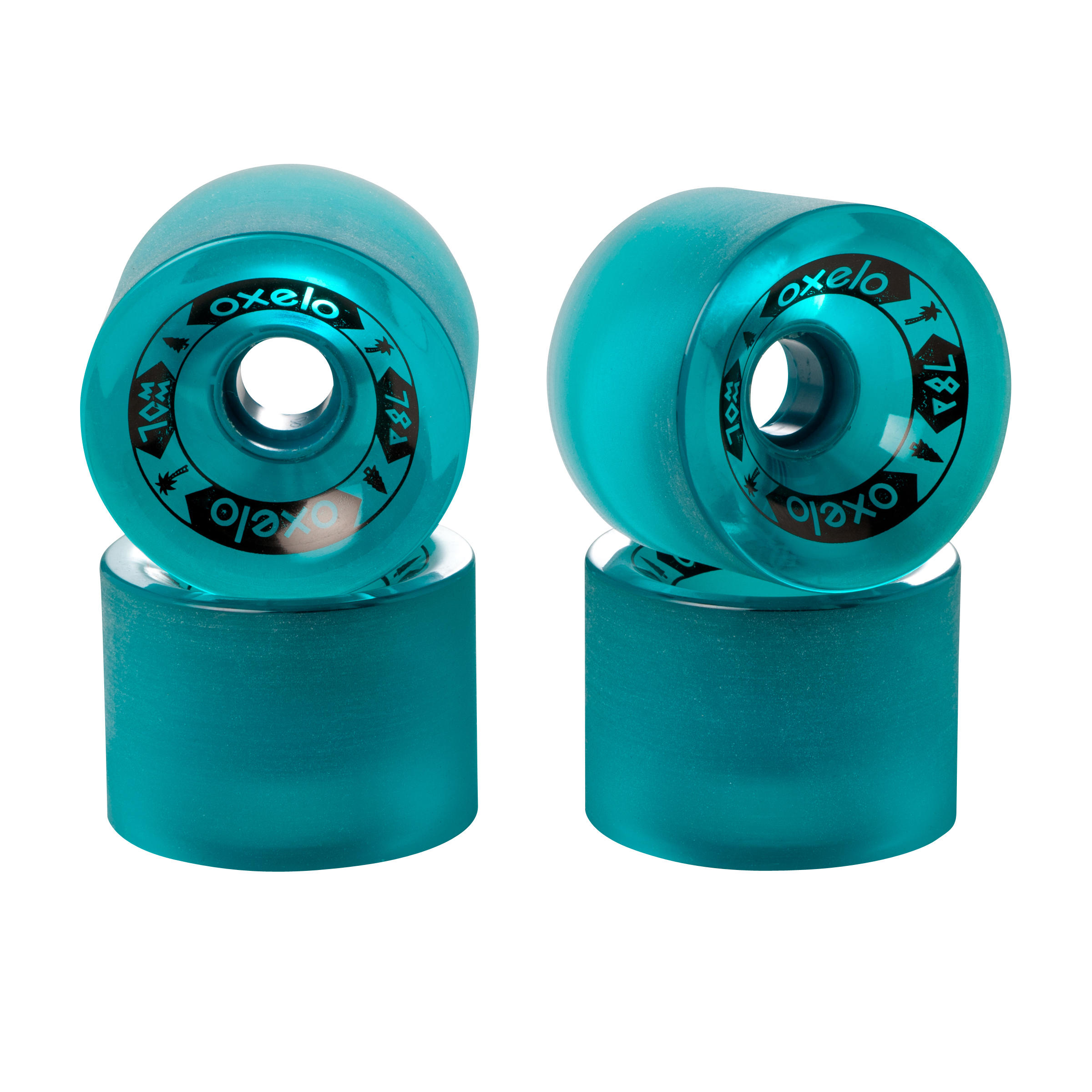 Longboard or Cruiser Wheels 4-Pack 70 mm 78A - Dark Green