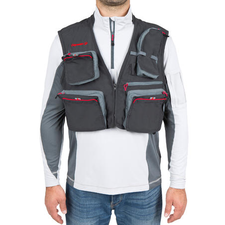 Gilet pêche 500 wading gris