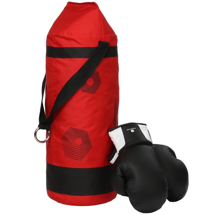 Kit initiation Boxe Enfant : Sac rouge + gants noirs - 44385