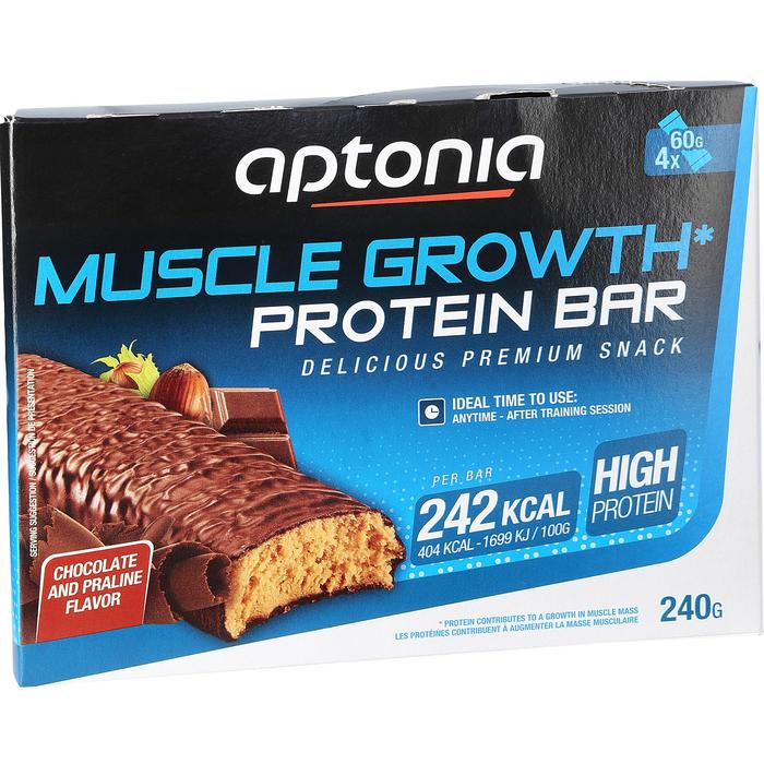 Barrita proteica MUSCLE GROWTH chocolate praliné 4X60 g