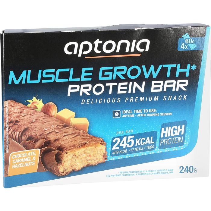 Barrita proteica MUSCLE GROWTH chocolate caramelo 4X60 g
