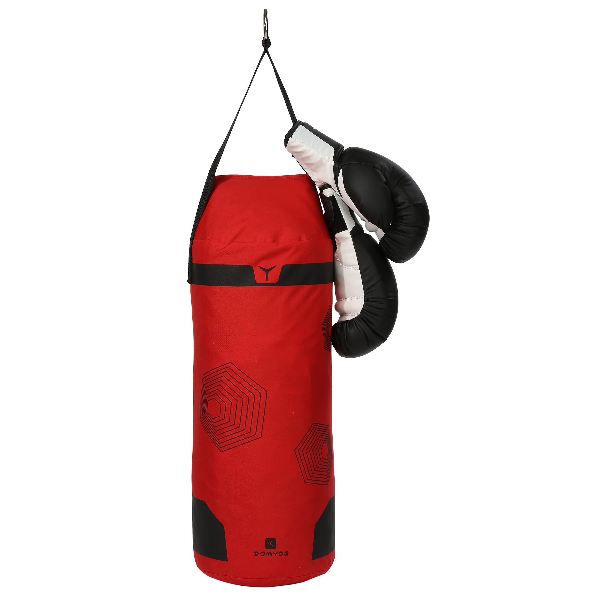Kids Beginner Boxing Bag Set: Red Bag + Black Gloves